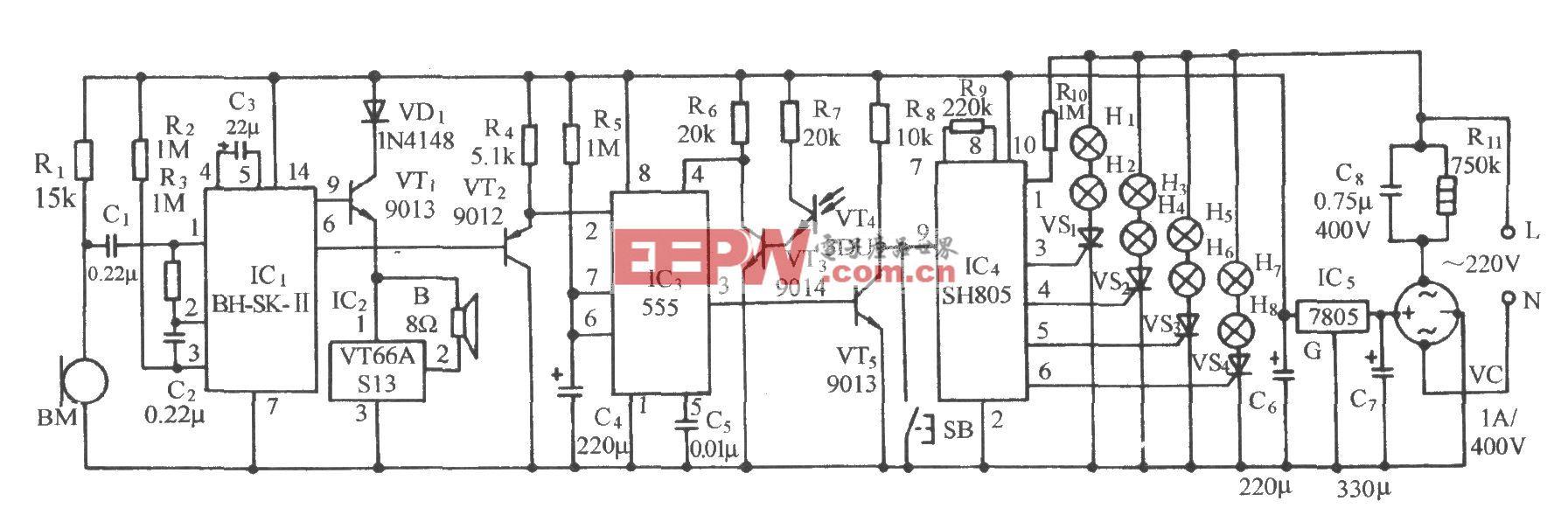 采用SH805的声光双控彩灯伴乐曲发声电路