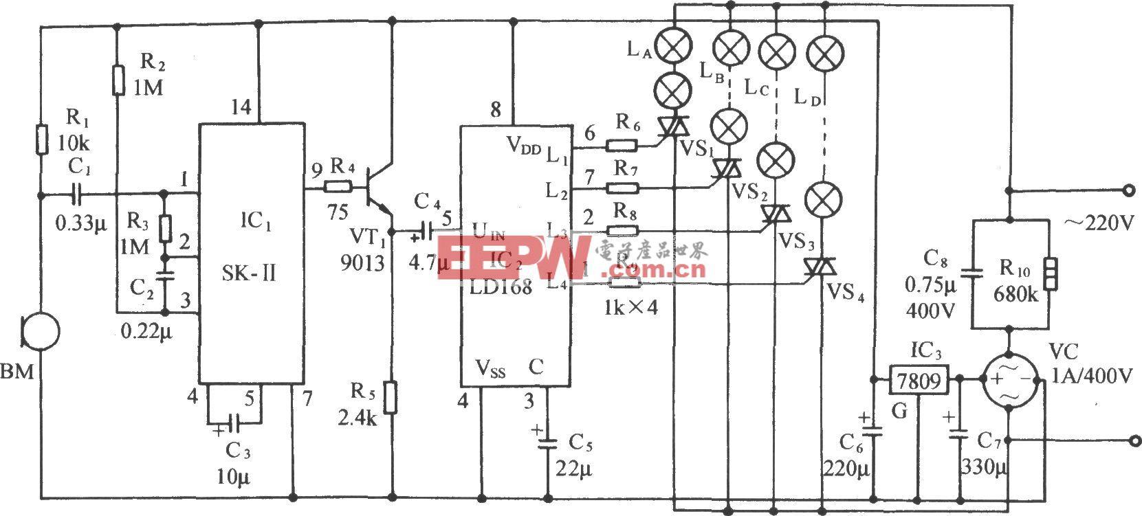 LD168音频压控卡拉0K彩灯发光控制电路