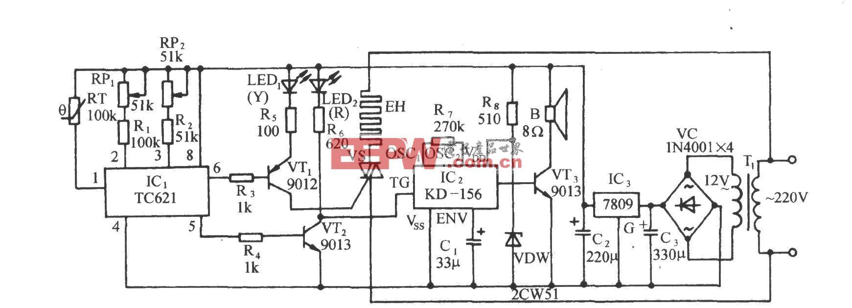 采用TC621的自动调温电暖炉电路
