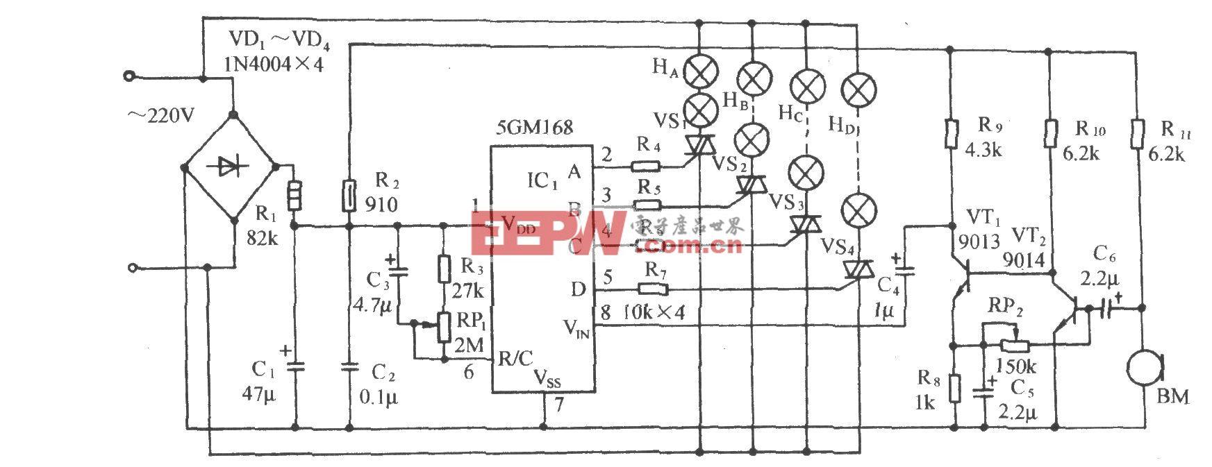 5GMl68音频压※控节日彩灯控制电路