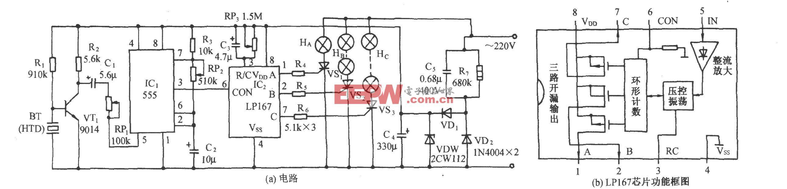 LPl67音频压控家庭卡拉0K灯光煊染器电路