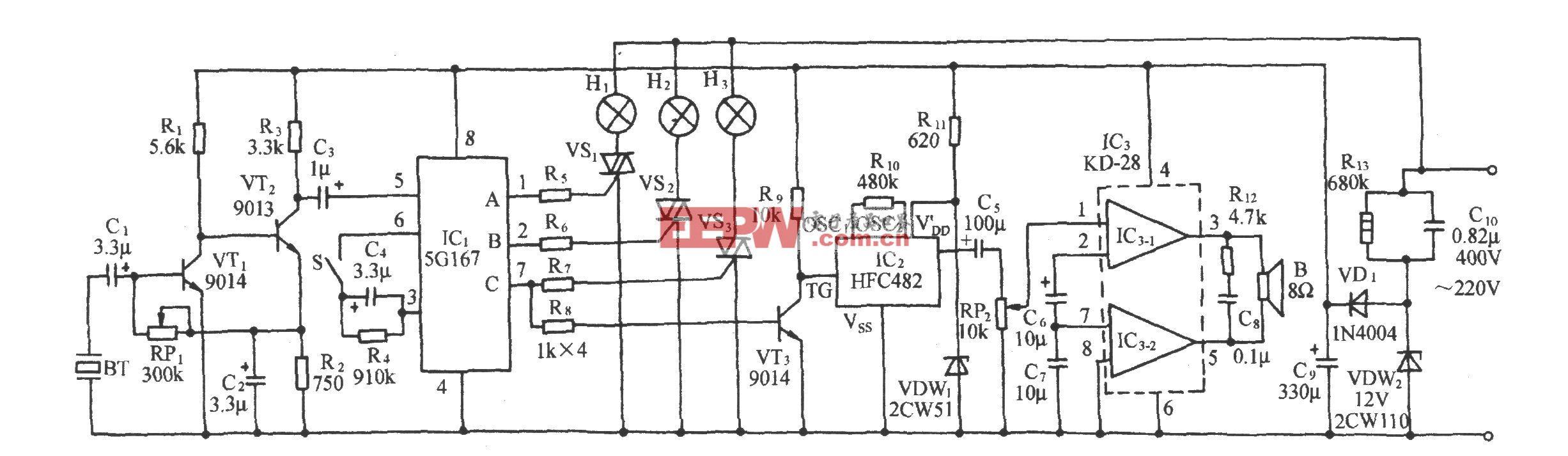 声控流水彩灯伴多首名曲演唱电路(5G167)