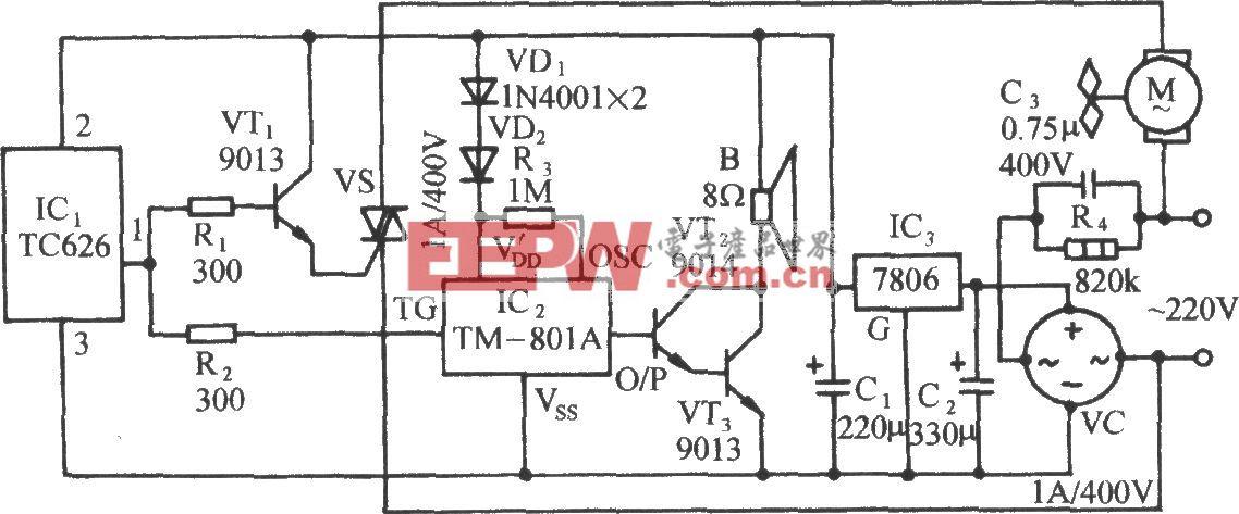 采用TC626的畜舍通风降温装置电路