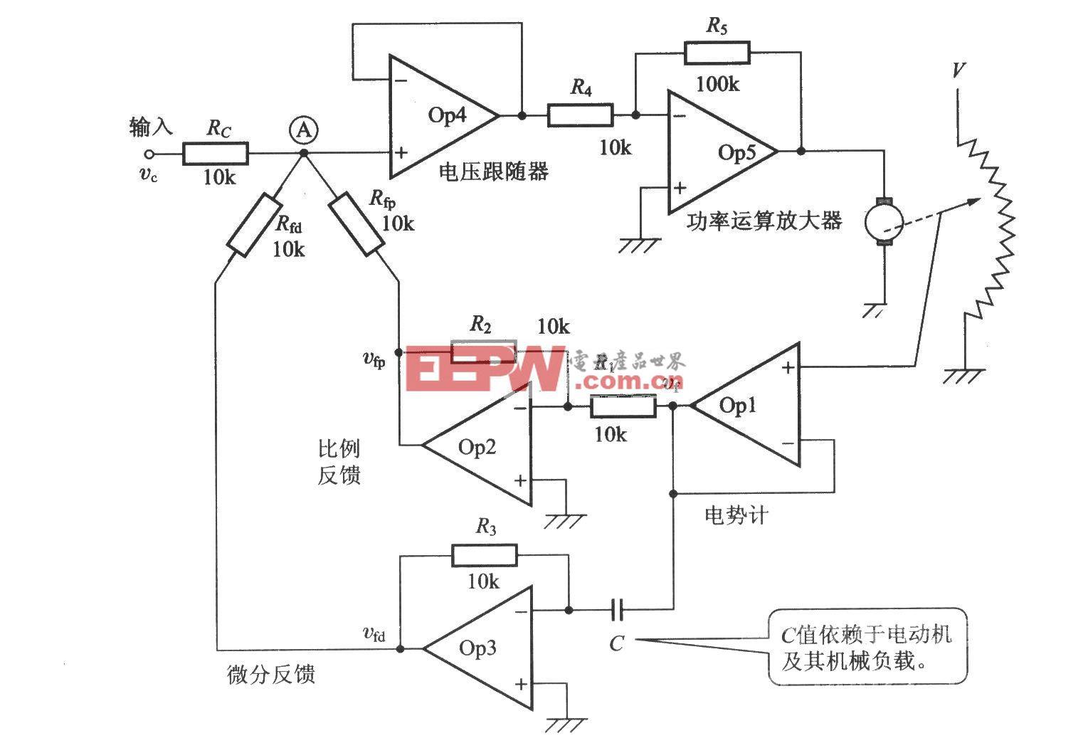 使用电势计的位置控制方式(电路图)