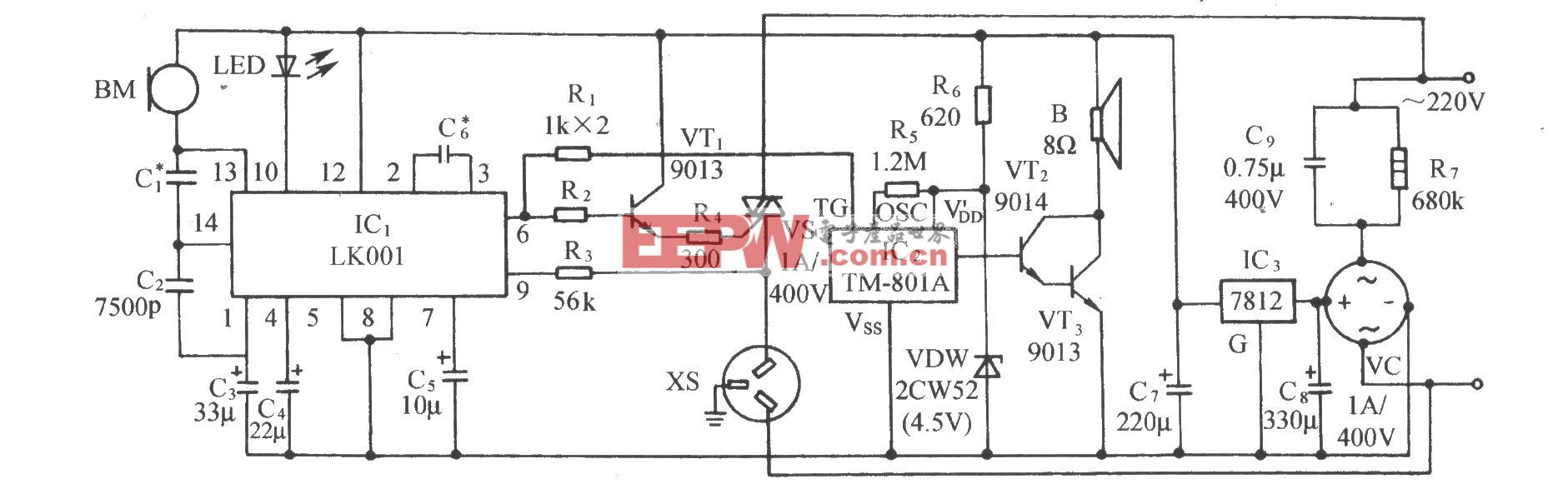 用LK001的选频声控音乐插座电路