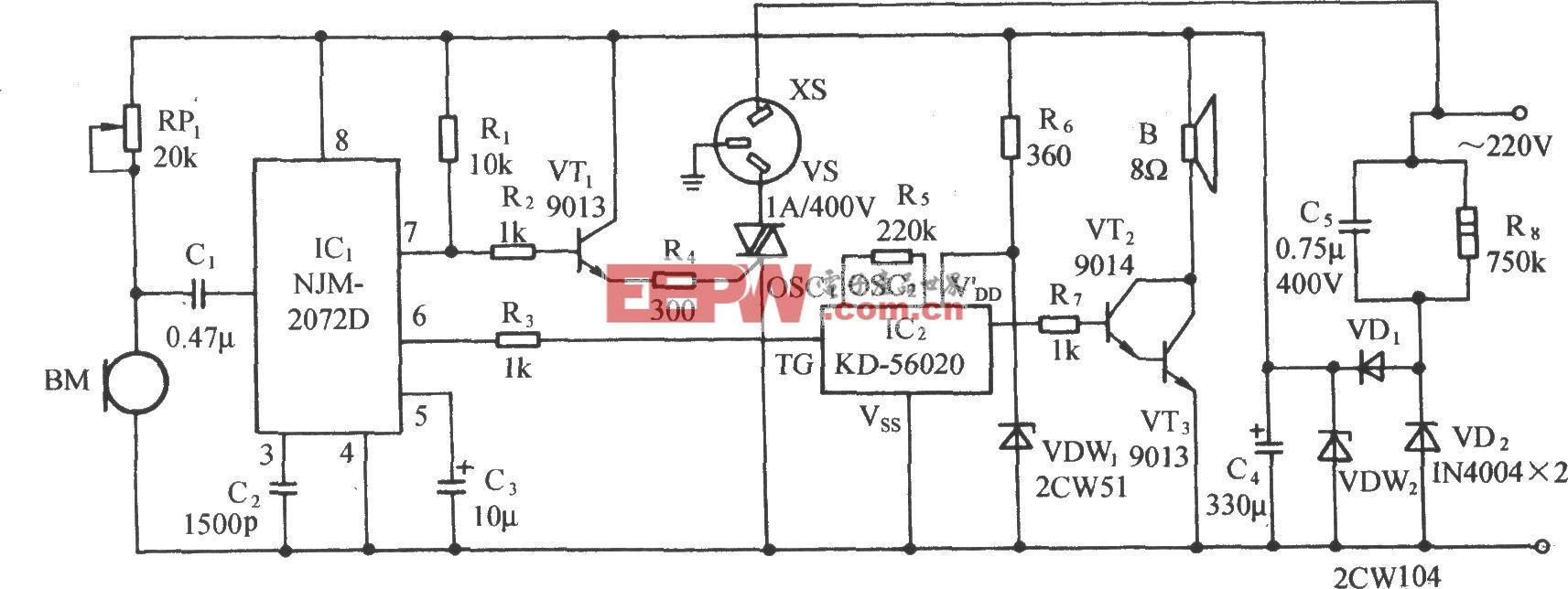 用NJM2072D的聲控音樂插座電路(二)