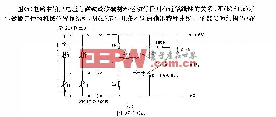 采用磁敏元件的磁路行程―电压变换器电路