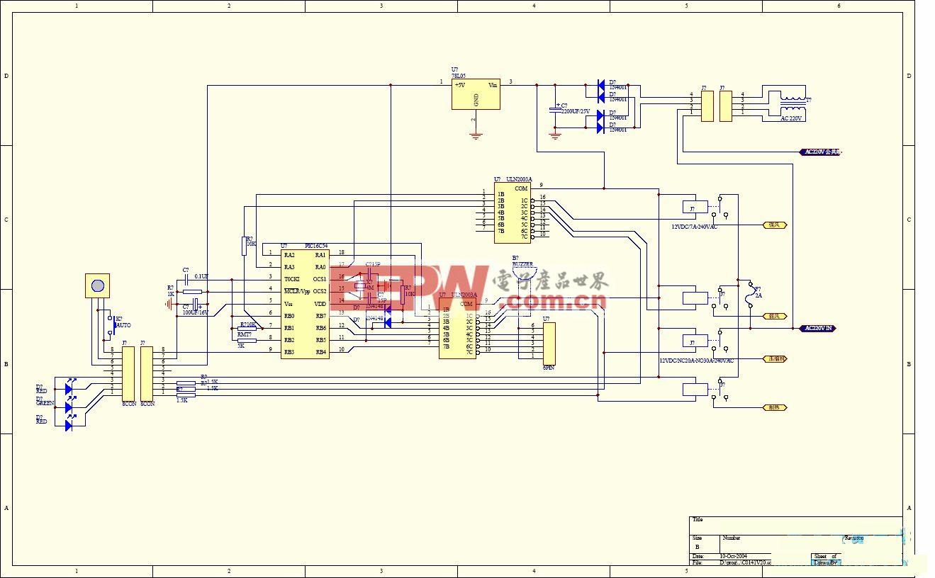 低成本空调主控板电路,PIC16C54