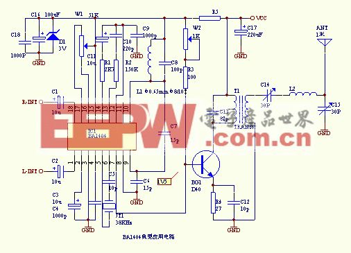 小型 调频发射机 立体声 电路 ba1404/附图1电路是由12为二进制串行计数器/分频器CD4040和六反相器...