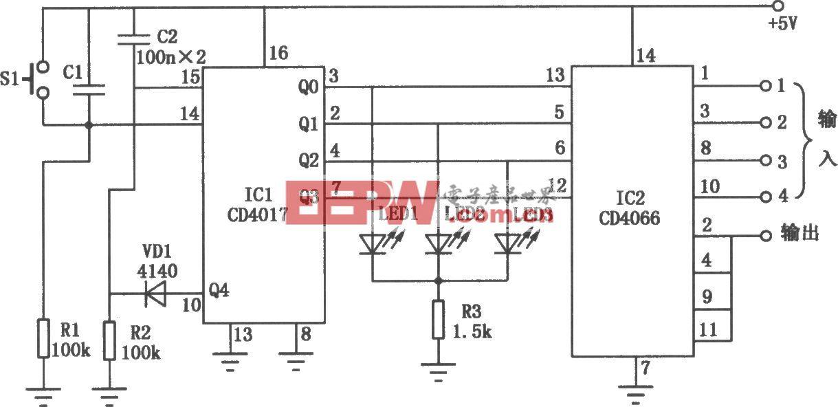CD4017、CD4066构成的电子切换开关