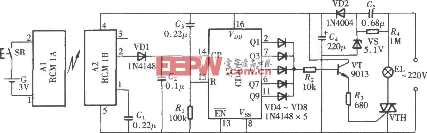 无线电遥控照明开关(CD4017、RCM1)