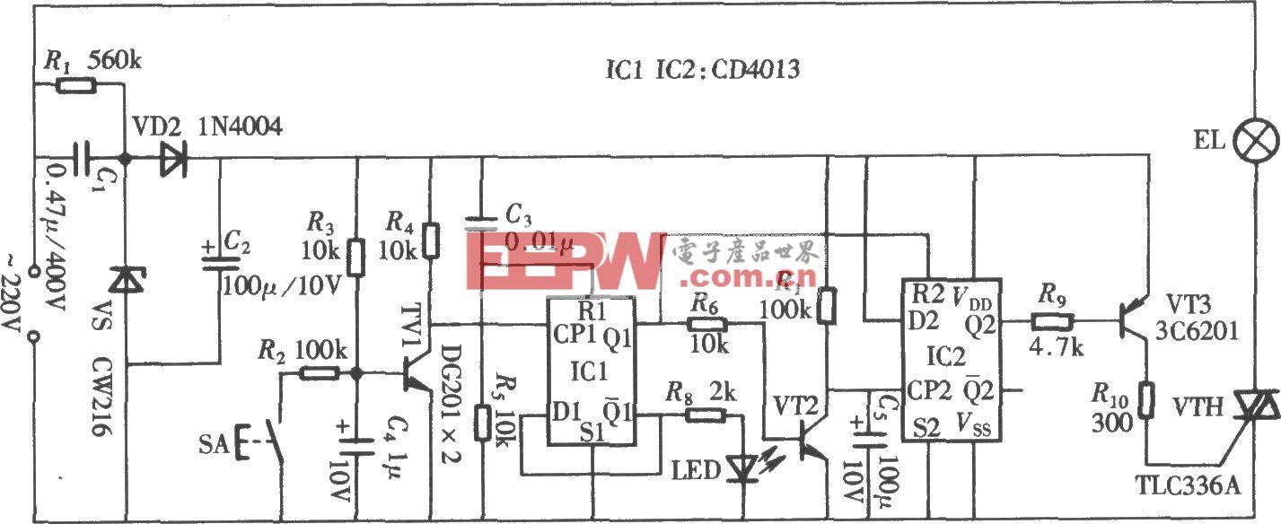 由CD4013組成的輕觸式延時開關電路