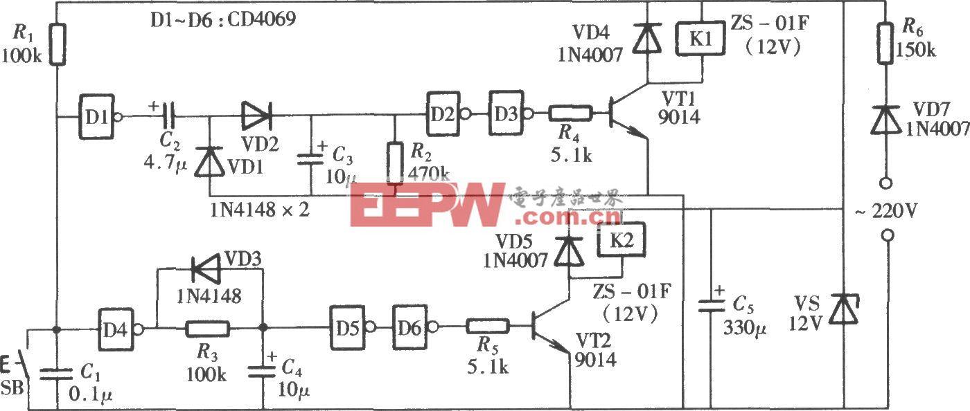 由CD4069组成的单按钮控制的双路电源开关