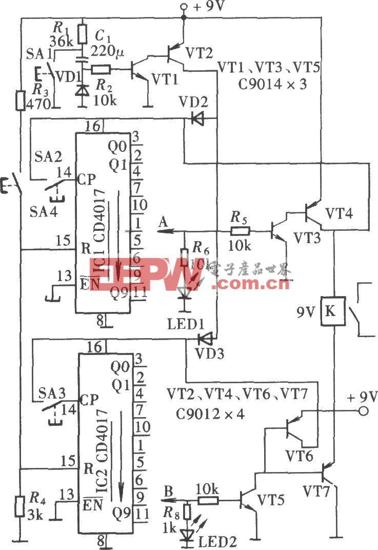 安全可靠的密码锁电路(CD4017)