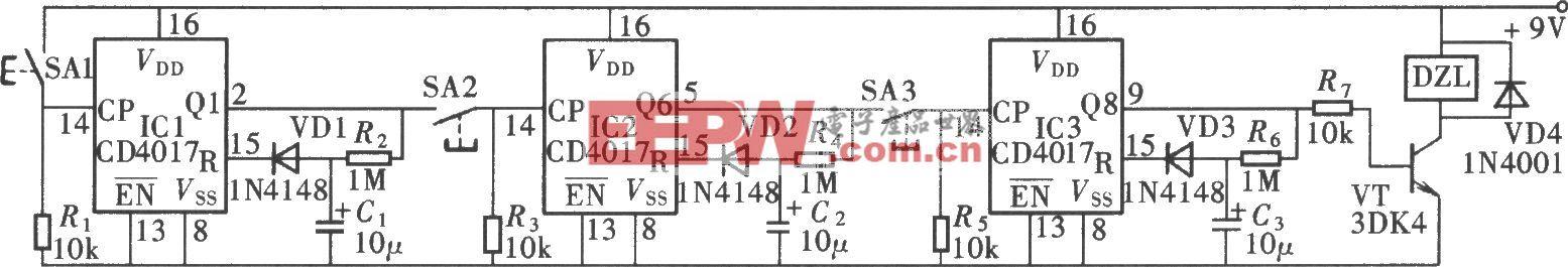 由CD4017组成的时控式密码锁电路