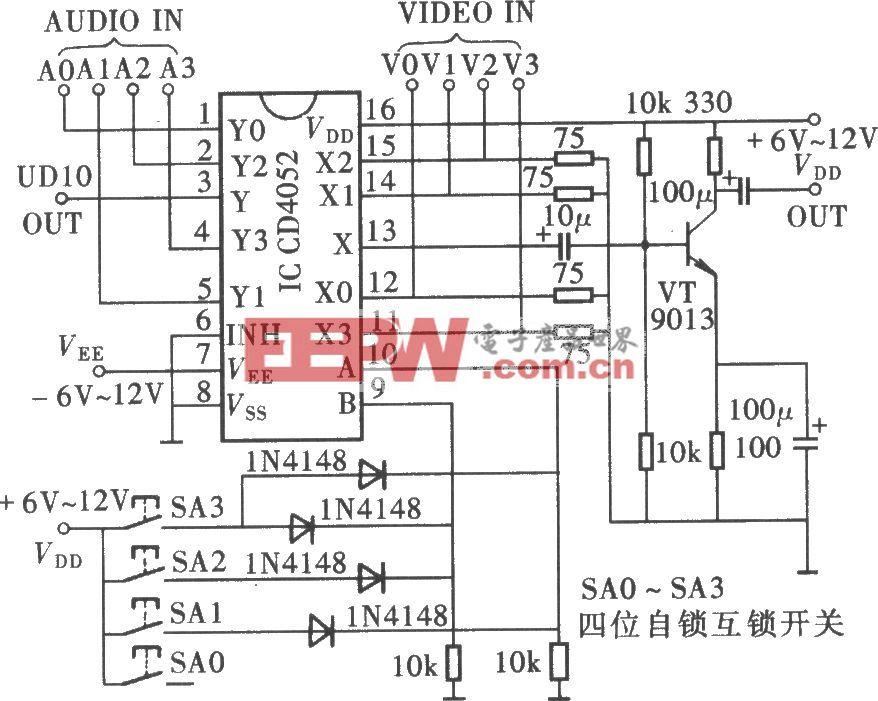 四通道A/V转换电路(CD4052)