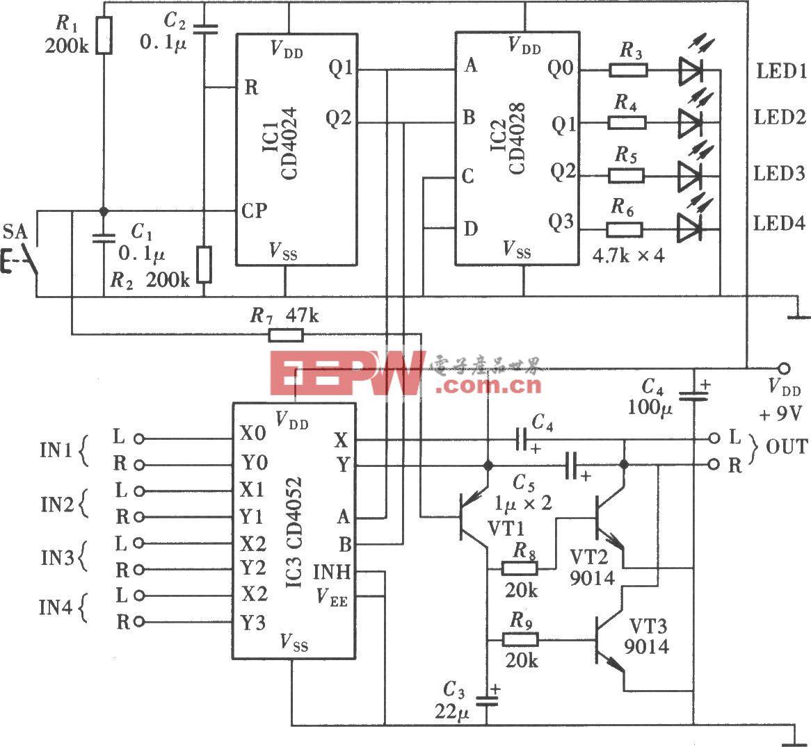 四路声源输人切换电路(CD4024、CD4052)