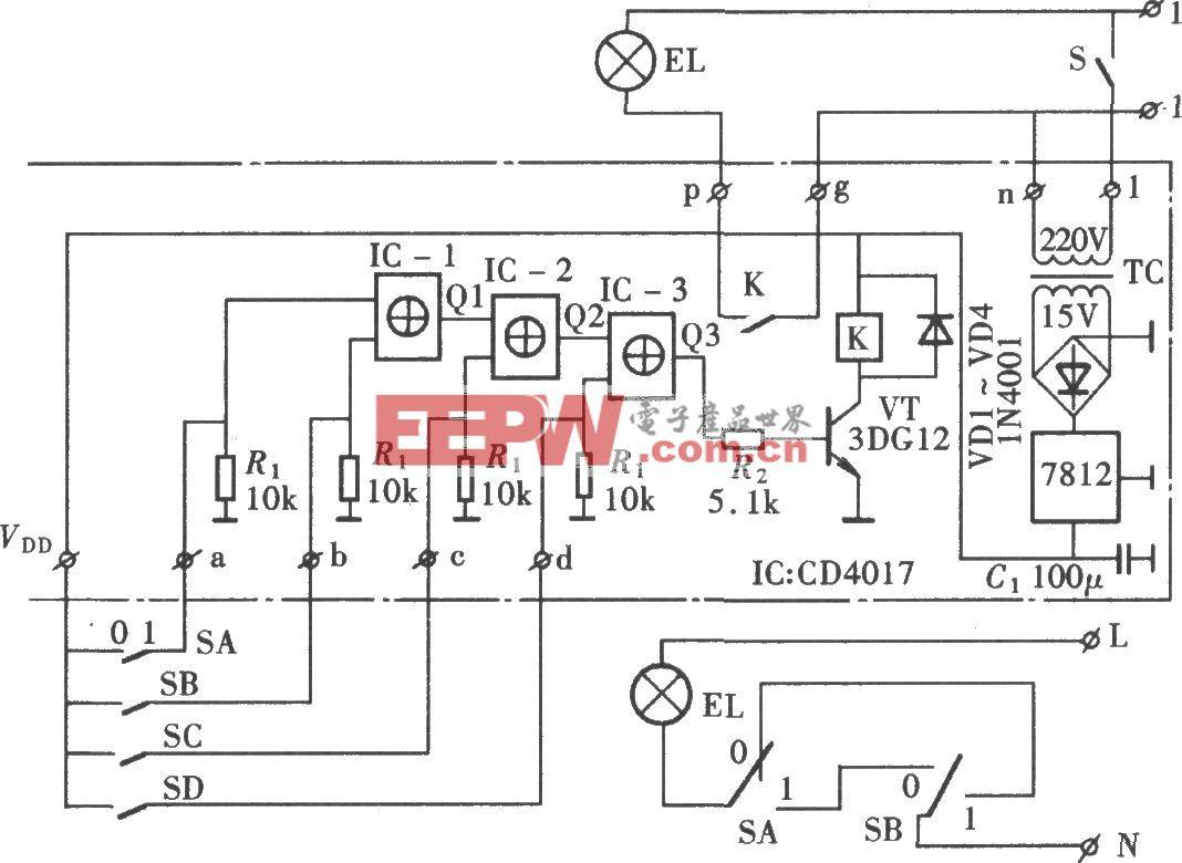 由CD4017组成的单负载多地点开关控制电路