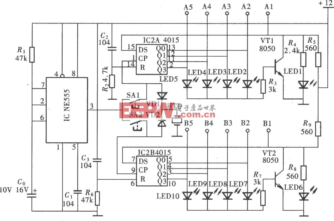 4028组成的楼梯灯控制开关 -开关电路图