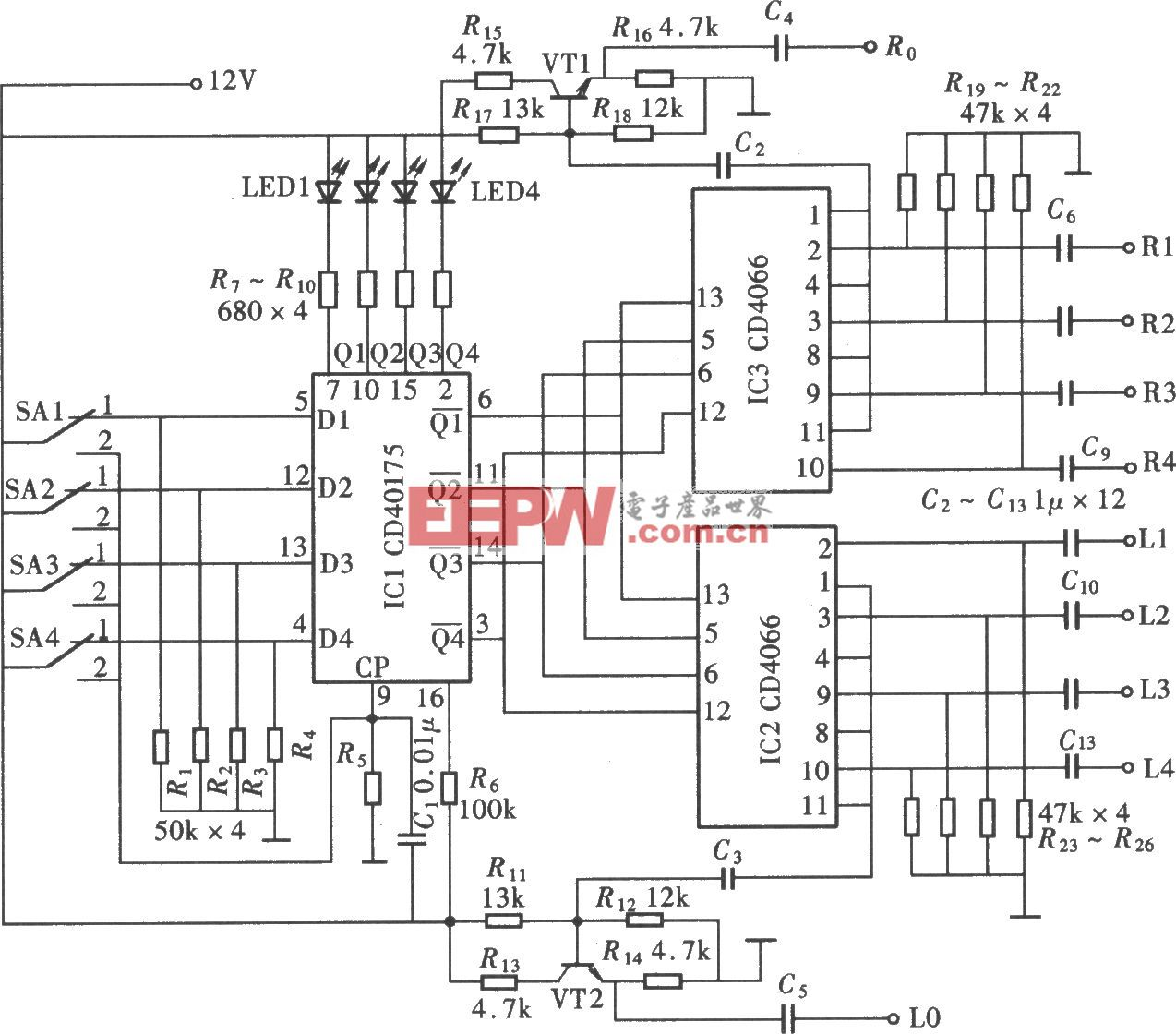 由CD40157、CD4066组成的四路电子切换开关