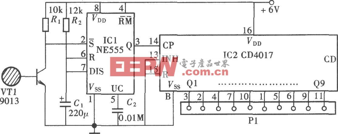 触摸式多通道电子开关(CD4017、CD4511、CD4518)