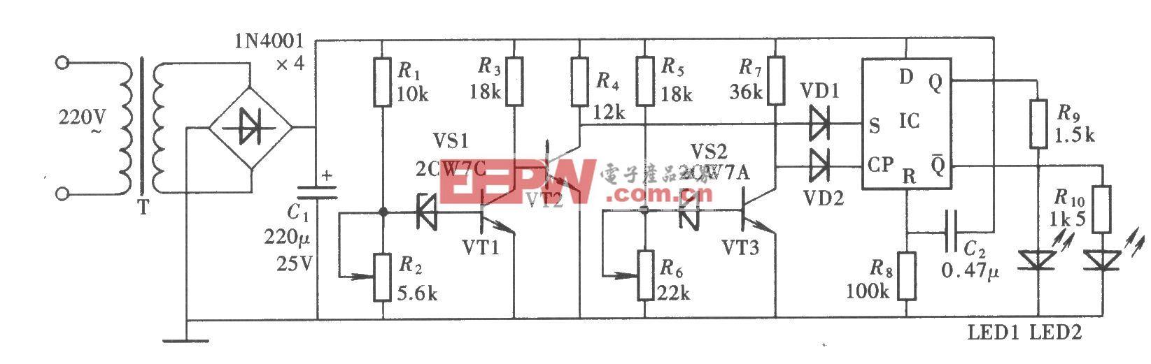 交流电源过、欠电压检测电路(CD4013)
