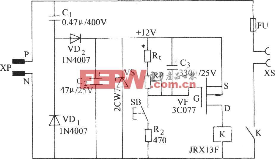 用一只场效应晶体管的延时电路