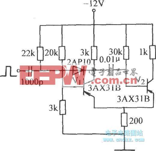 觸發信號加至導通管基極的單穩態電路