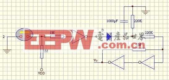 反相器構成的觸摸開關電路2