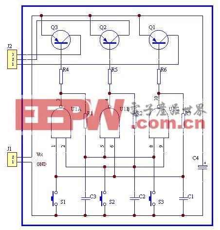 简单实用的3键互锁电子开关电路