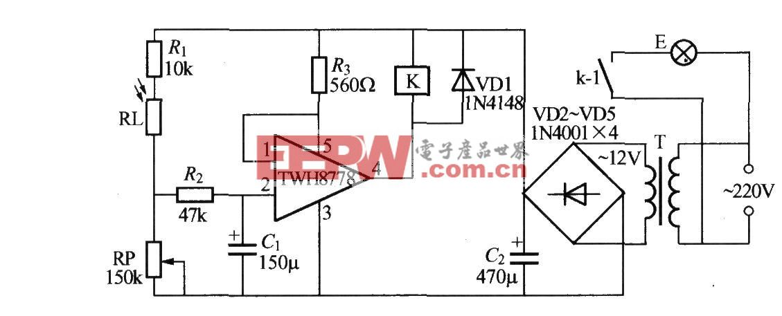 使用TWH8751的光控路燈電路