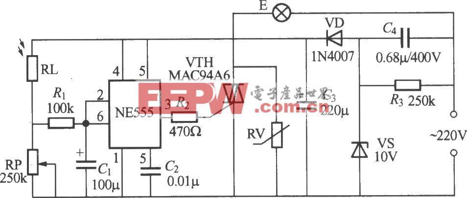 使用NE555的光控路灯电路(1)
