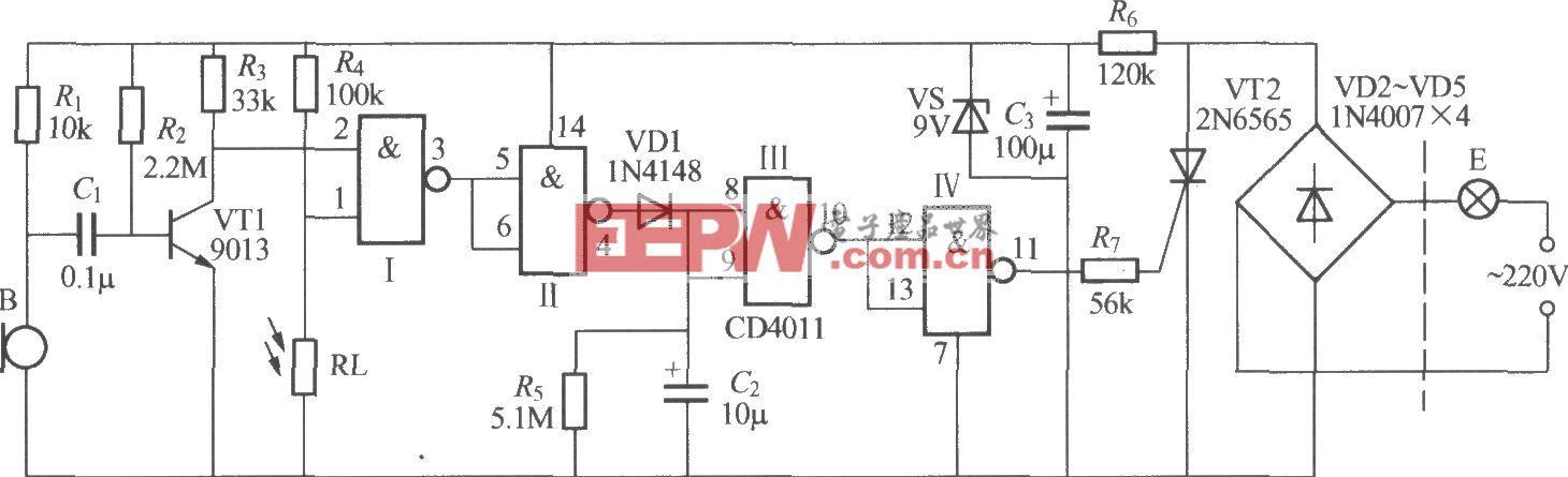 數字電路聲光控樓梯延遲開關電路(4)