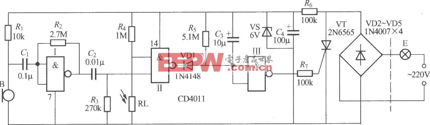 數字電路聲光控樓梯延遲開關電路(3)