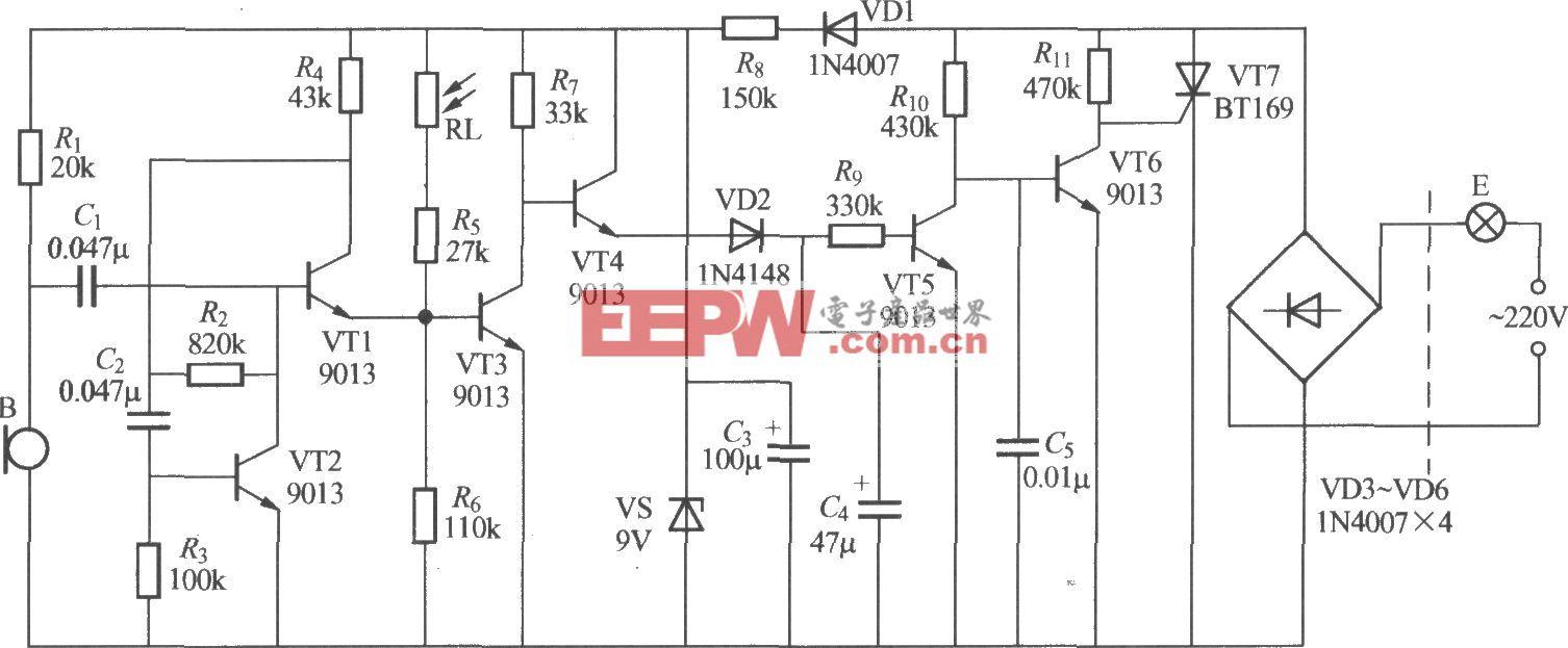 分立元件声光控楼梯延迟开关电路(9)