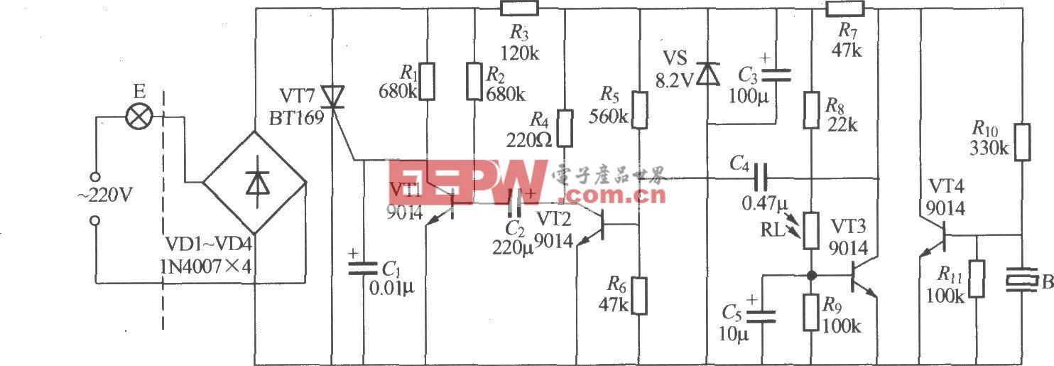 分立元件声光控楼梯延迟开关电路(8)
