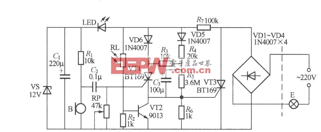 分立元件声光控楼梯延迟开关电路(5)