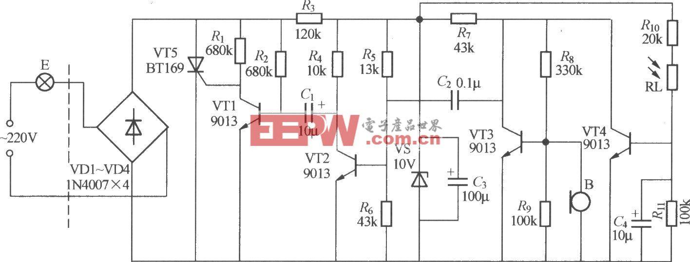 分立元件声光控楼梯延迟开关电路(4)