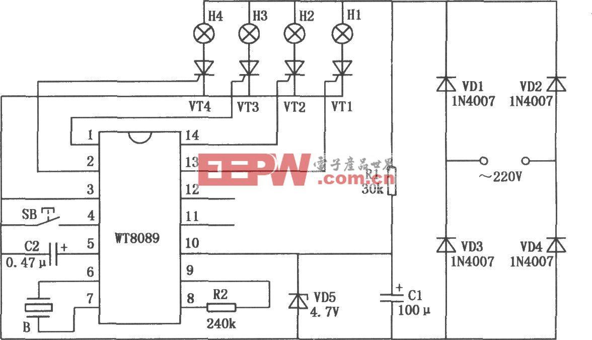 花样彩灯控制电路(WT8089)
