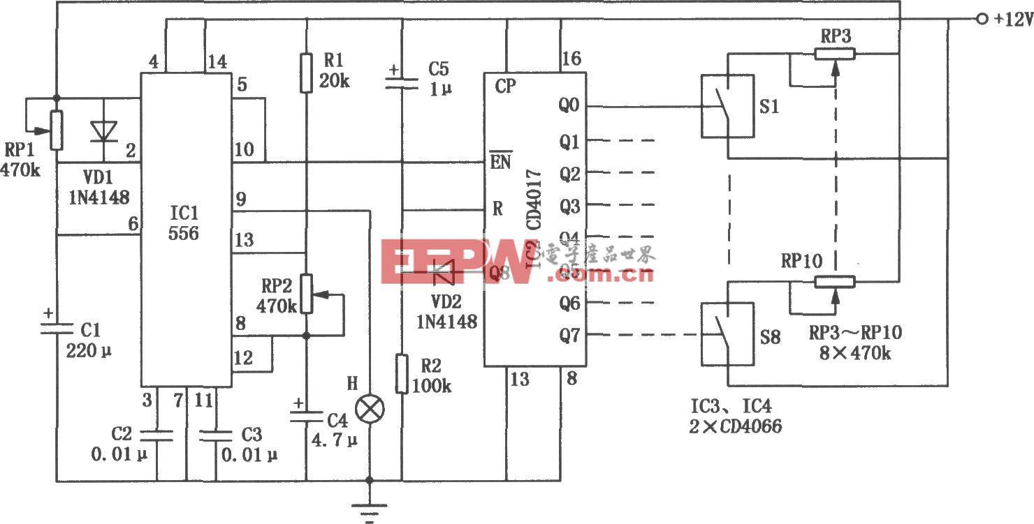 由556、CD4017构成的闪光灯控制电路
