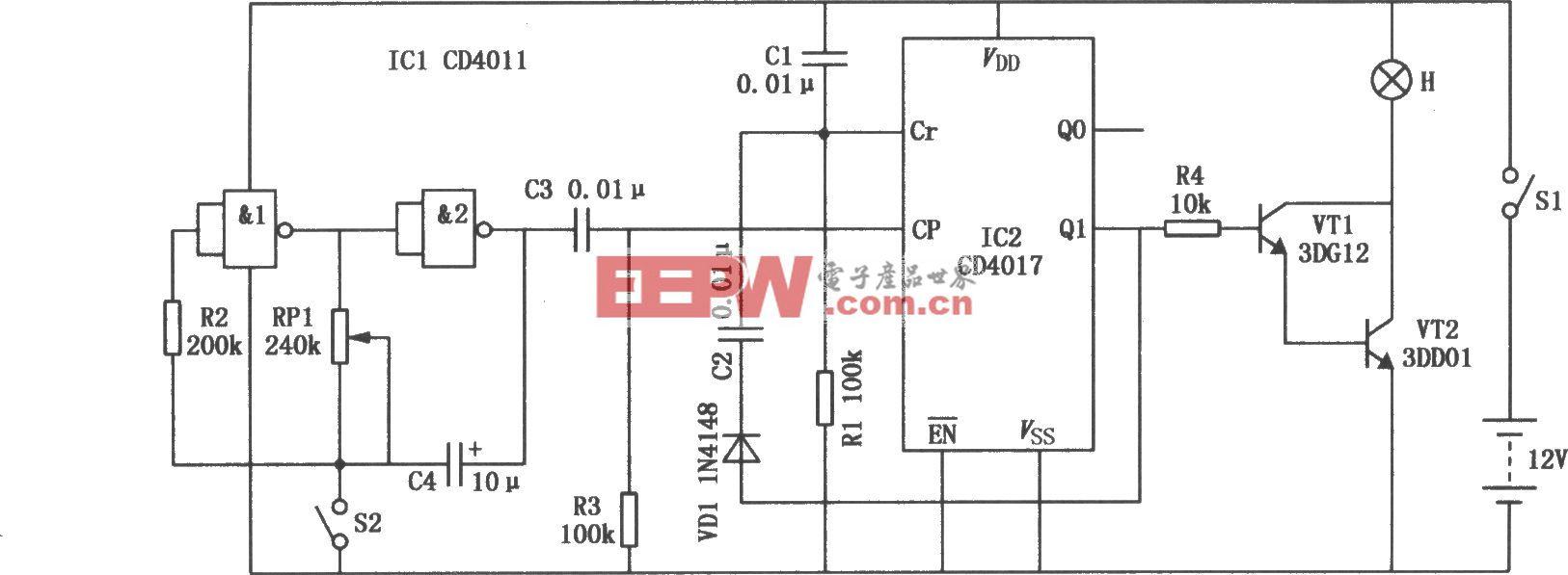 施工指示灯(CD4017、CD4011)
