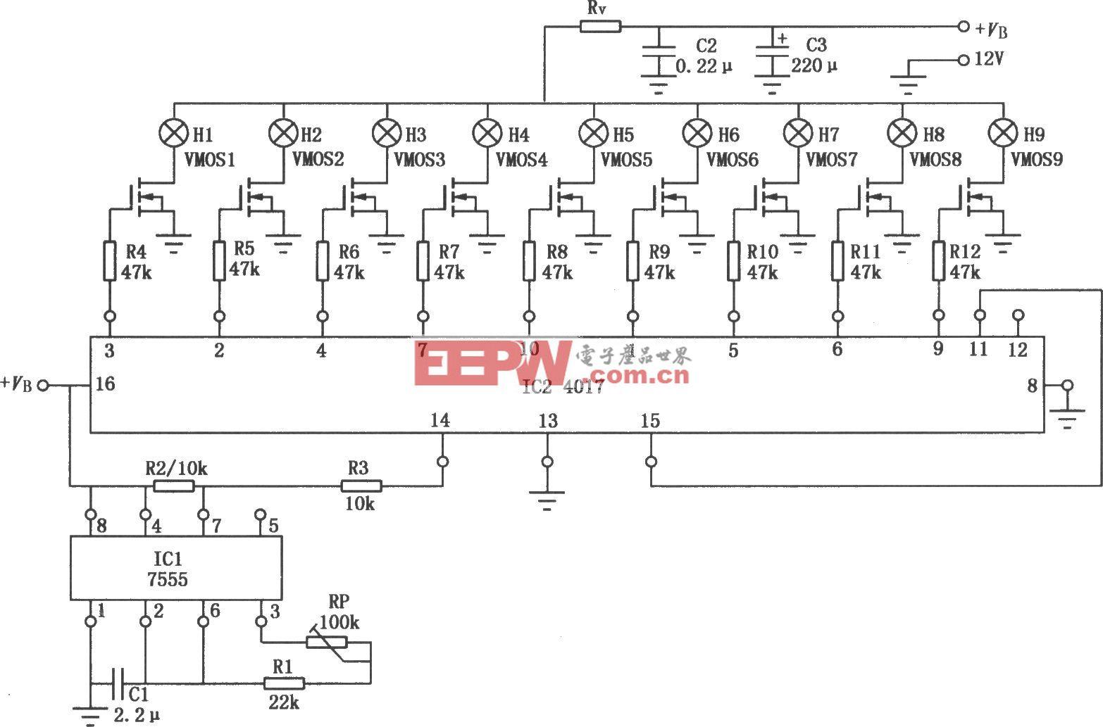 場效應管驅動定時循環閃光電路