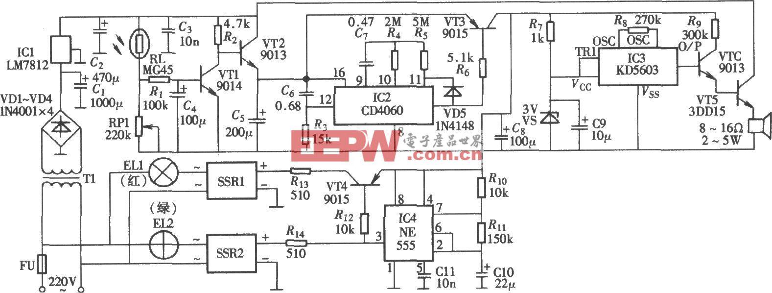由NE555、CD4060构成的光控定时语音广告灯箱电路