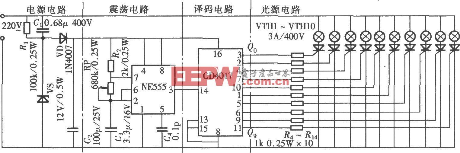 由NE555、CD4017组成的十位流动彩灯控制器