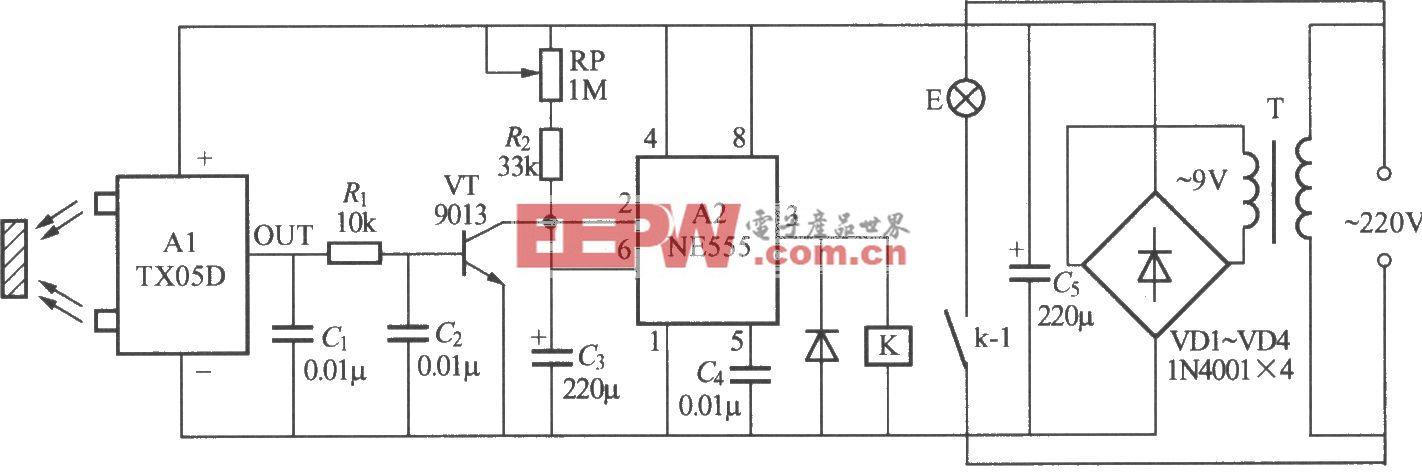 红外反射式自动灯电路(TX05D)