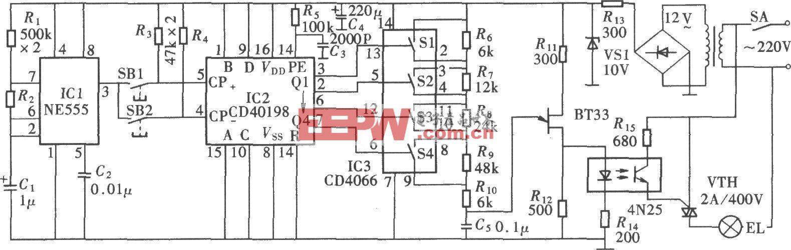 十六级调光台灯电路(NE555、CD40198)