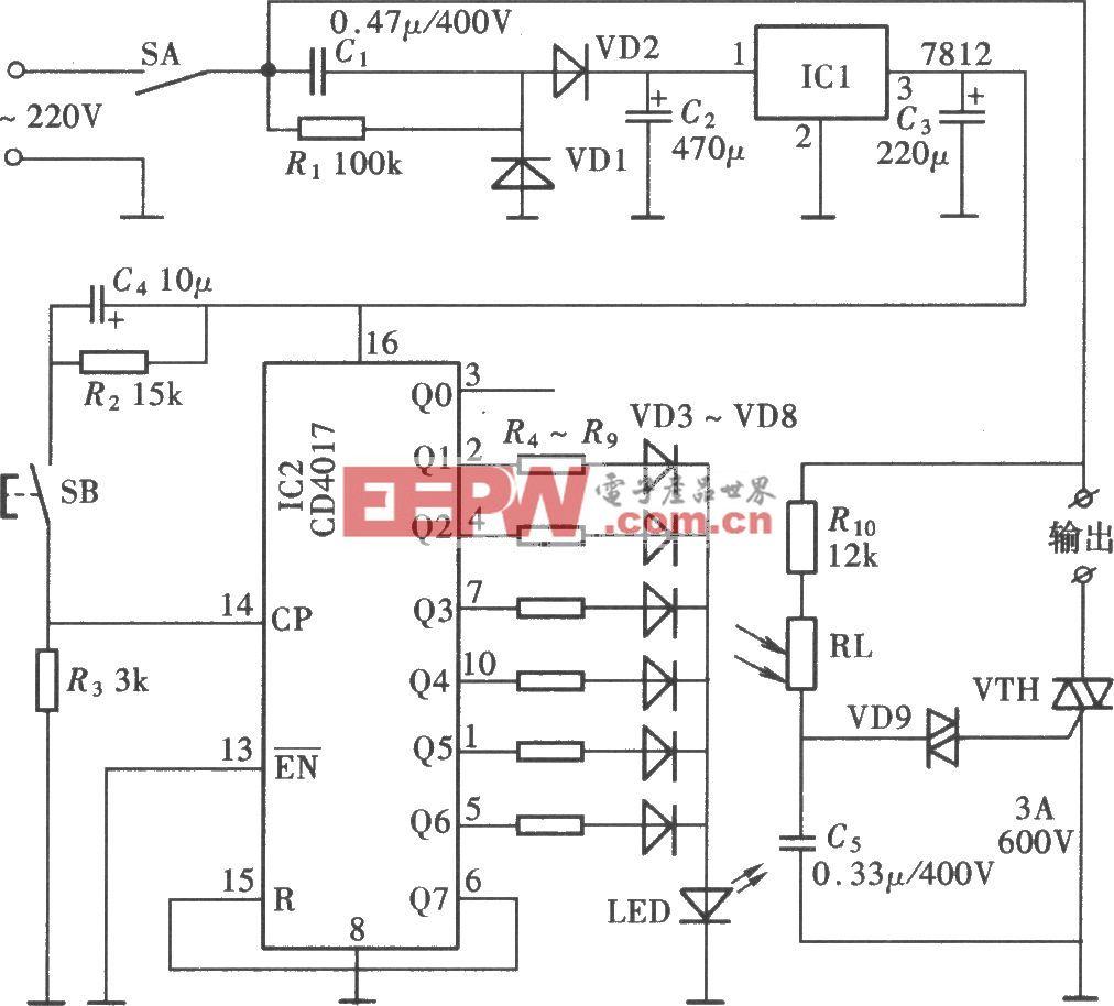 按键式手控调光调速电路(CD4017)