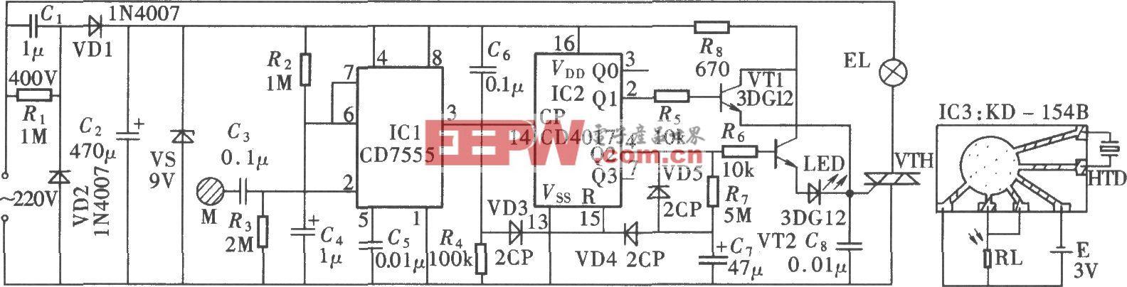 触摸开灯、延时熄灭式音乐台灯(CD7555、CD4017)
