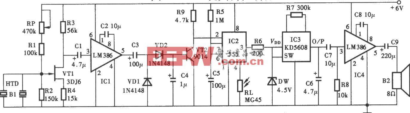 声光控制电子犬电路