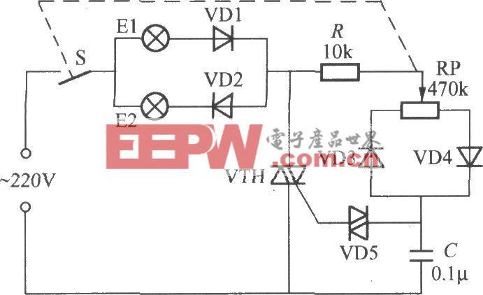 晶闸管双色调光器的电路(1)